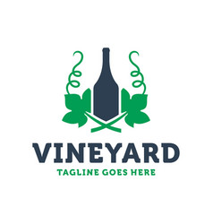 wine bottle leaf logo vector image