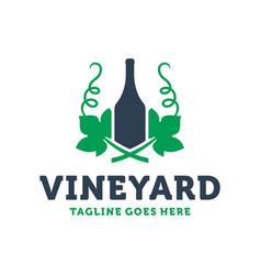 wine bottle leaf logo vector image