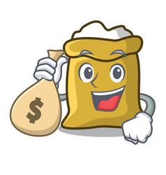 With money bag flour character cartoon style vector