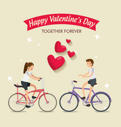 Woman and man ride bicycle to valentine day vector