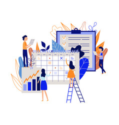 Workflow planning concept with people recording vector