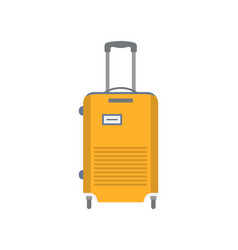 yellow wheeled suitcase isolated icon vector image