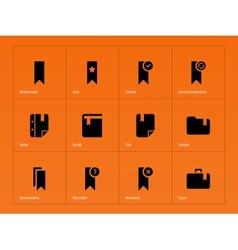 Bookmark favorite icons on orange background vector image