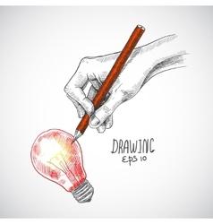 Hand drawing lightbulb vector image