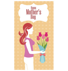 happy mothers day - woman flowers heart background vector image vector image