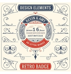Old Badge Baroque Ornaments Design Elements vector image vector image