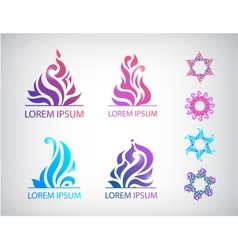 set of hand drawn abstract floral icons vector image vector image