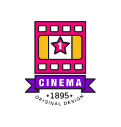 stylish logo design template for cinema or movie vector image