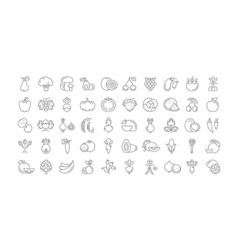Vegetables and Fruit Line Icons 6 2 vector image vector image
