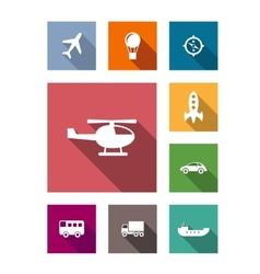 Flat transportation icons set vector image