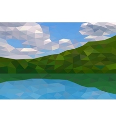 Low poly river and green hills vector image