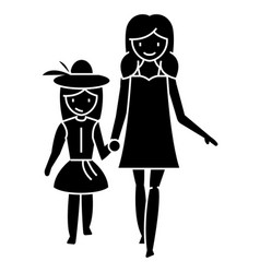 mother with daughter on vacation icon vector image