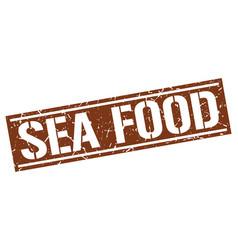 Sea food square grunge stamp vector