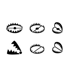 set of bear trap icons and symbol in design vector image