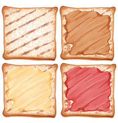 toasted with different types of jam vector image