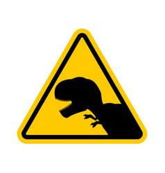 attention dinosaur dangers of yellow road sign vector image