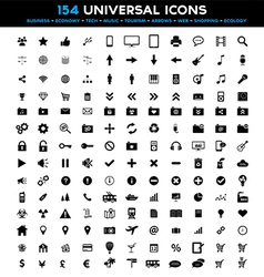 Big set of 154 universal black flat icons vector image
