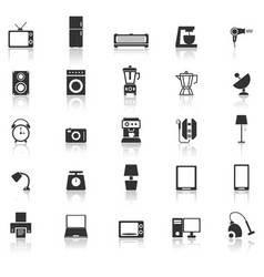 household icons with reflect on white background vector image