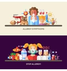 Allergy and allergens flat design website banners vector