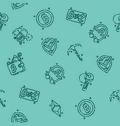 blockchain icons pattern vector image vector image
