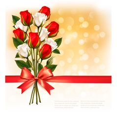 Bouquet of red and white roses with a red ribbon vector image