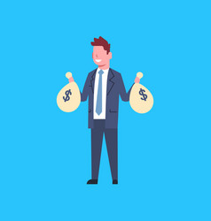business man holding bags with money successful vector image