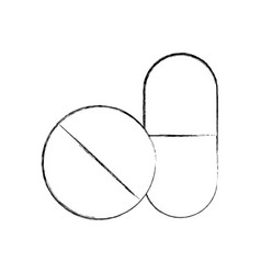 Capsule drug isolated icon vector