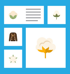 flat icon cotton set of flower cotton pullover vector image