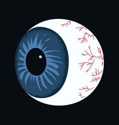 halloween eyeball on black vector image