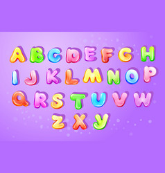 kid alphabet bubble cartoon type letter set vector image