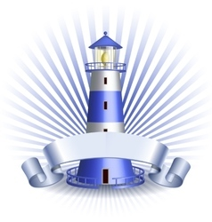 Nautical emblem with Blue lighthouse vector image