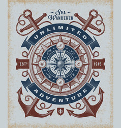 vintage unlimited adventure typography vector image