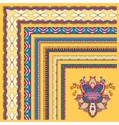 yellow floral vintage frame design set vector image vector image