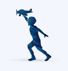 a boy running with plane toy graphic vector image