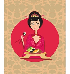 Abstract card with sushi and geisha vector image