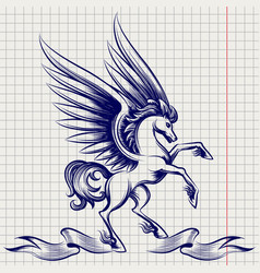 ballpoint pen sketch of pegasus vector image