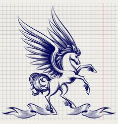ballpoint pen sketch pegasus vector image