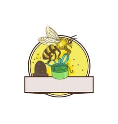 Bee Carrying Gift Box Skep Circle Drawing vector