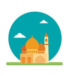 Big mosque place prayer to worship their god vector