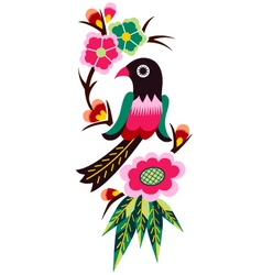 bird and flower emblem graphic vector image vector image