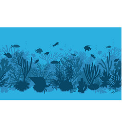 blue coral reef and fishes pattern vector image