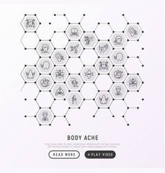 body aches concept in honeycombs vector image