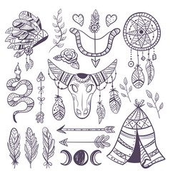 boho hand drawn indian element design collection vector image