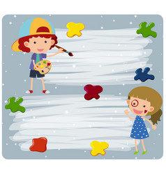 Border template with girl and boy painting vector