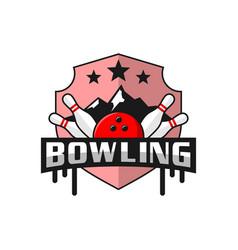 bowling sports logo design vector image