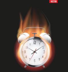 Burning alarm clock vector image