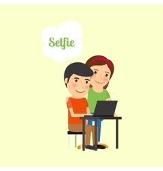 Cartoon couple taking selfie vector