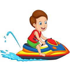 cartoon little boy rides a jet ski vector image