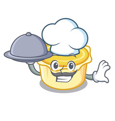 Chef with food egg tart mascot cartoon vector