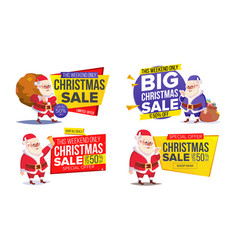christmas sale banner template with classic santa vector image